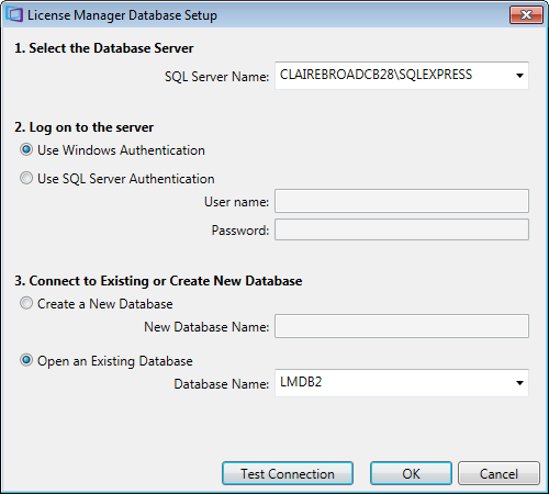 License Manager Database Setup