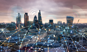 City of London at sunset with communication icons and network lines